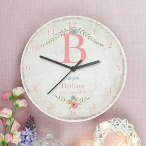 Personalised Floral Shabby Chic Wooden Clock