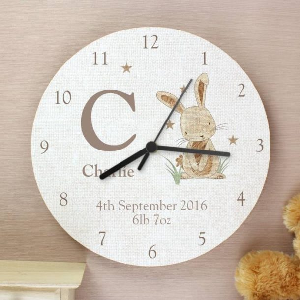 Personalised Hessian Rabbit Large Wooden Clock