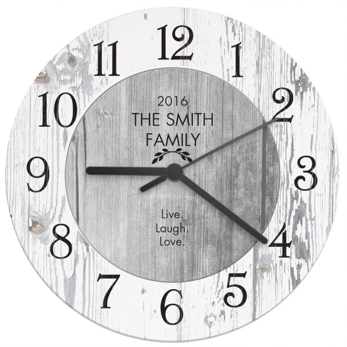 Personalised Shabby Chic Wooden Clock Love My Gifts