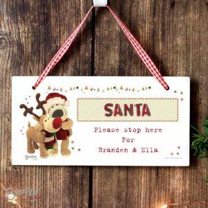Personalised Boofle Christmas Reindeer Wooden Sign