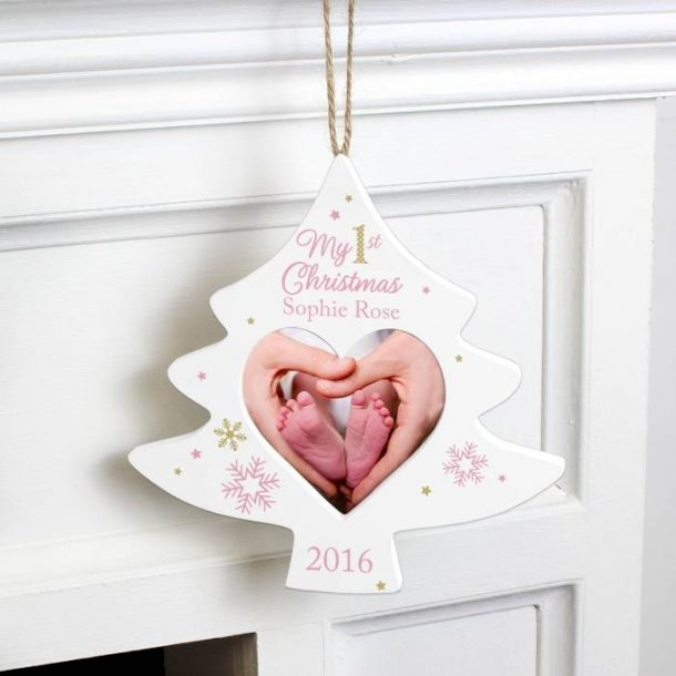 Personalised Pink My 1st Christmas Tree Photo Frame Decoration