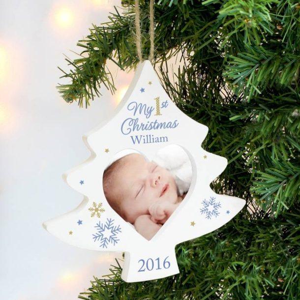 Personalised Blue My 1st Christmas Tree Photo Frame Decoration