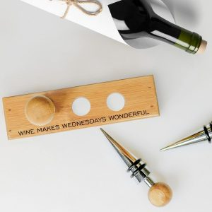 Personalised 3 Piece Deluxe Bottle Stopper Set