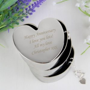 Personalised 3 Tier Heart Trinket Box