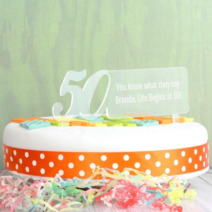 Wondrous Personalised 50Th Birthday Cake Topper Love My Gifts Personalised Birthday Cards Akebfashionlily Jamesorg