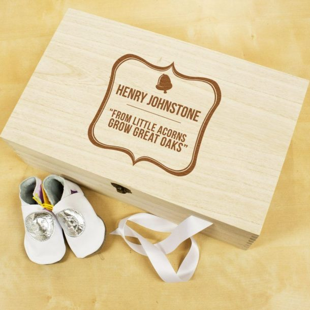 Personalised Baby Acorn Keepsake Box