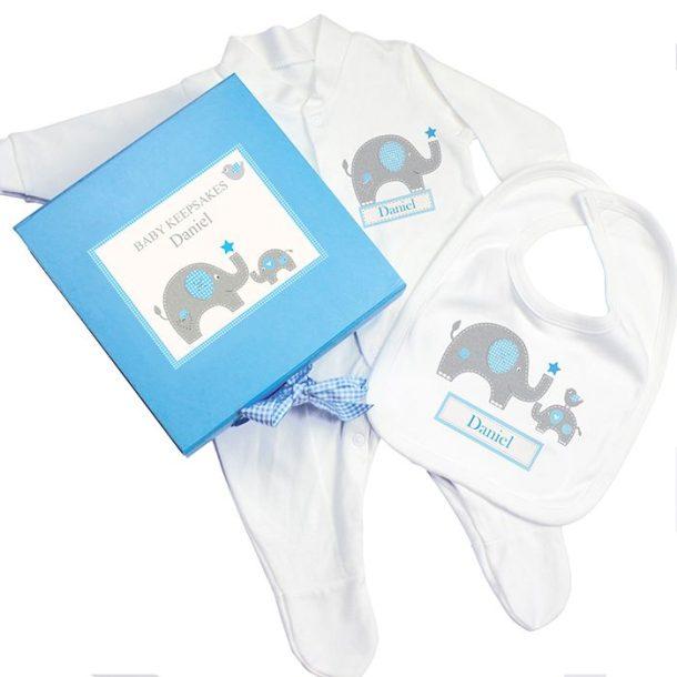 Personalised Baby Blue Elephant Gift Set