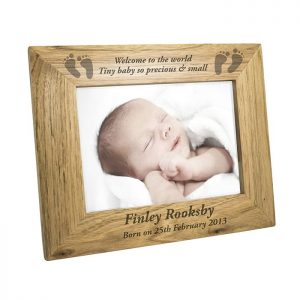Personalised Baby Feet Wooden Photo Frame