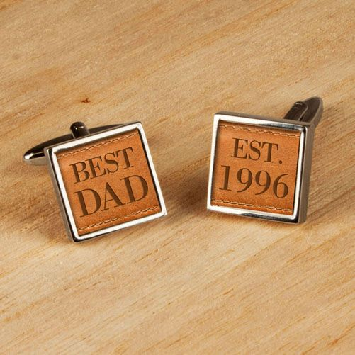 Personalised Best Dad Leather Cufflinks