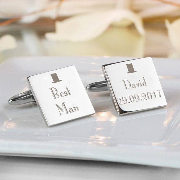 Personalised Best Man Square Cufflinks