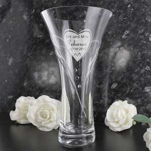 Personalised Big Heart Swarovski Vase