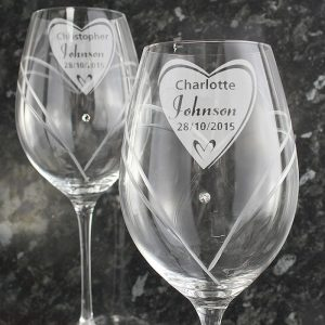 Personalised Big Heart Swarovski Wine Glasses