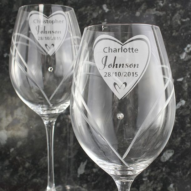 Personalised Big Heart Swarovski Wine Glasses
