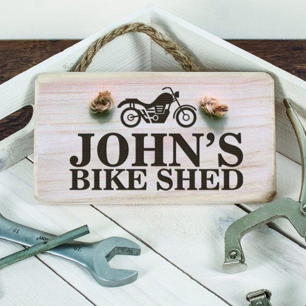 Personalised Bike Shed Wooden Sign