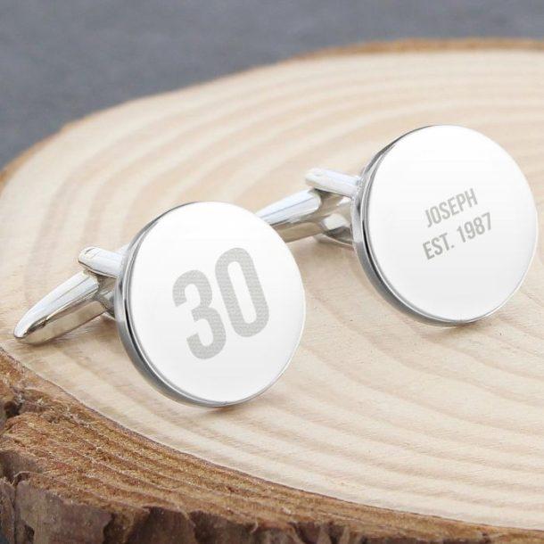 Personalised Birthday Age Round Cufflinks