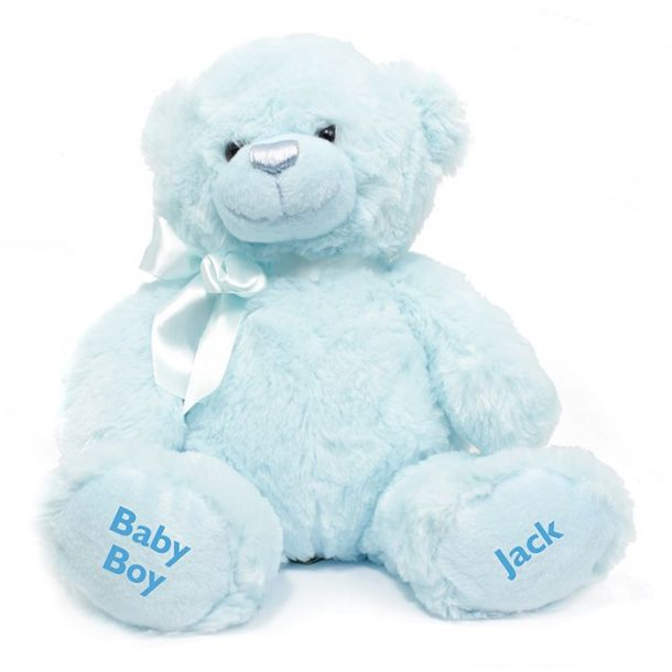 Personalised Blue Baby Boy Bear