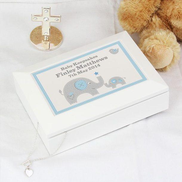 Personalised Blue Elephant Keepsake Box