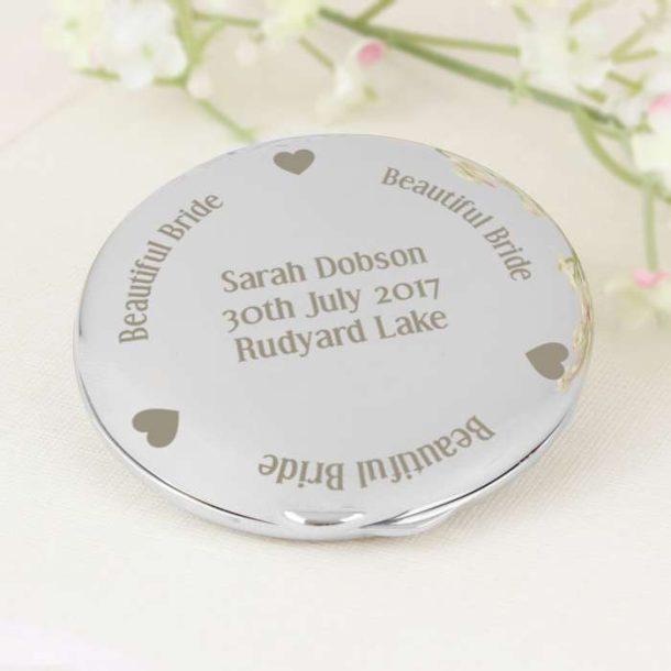 Personalised Bride Compact Mirror