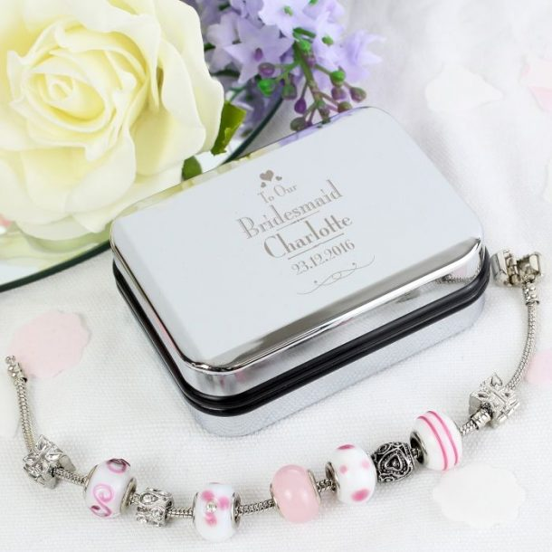 Personalised Bridesmaid Charm Bracelet & Trinket Box