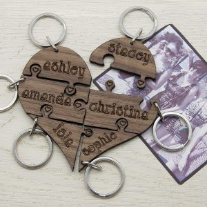 Personalised Bridesmaids Jigsaw Keyring