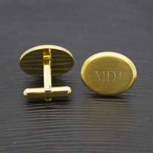 Personalised Brushed Gold Oval Cufflinks