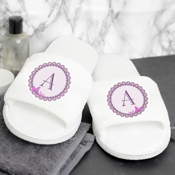 Personalised Butterfly Initial Slippers
