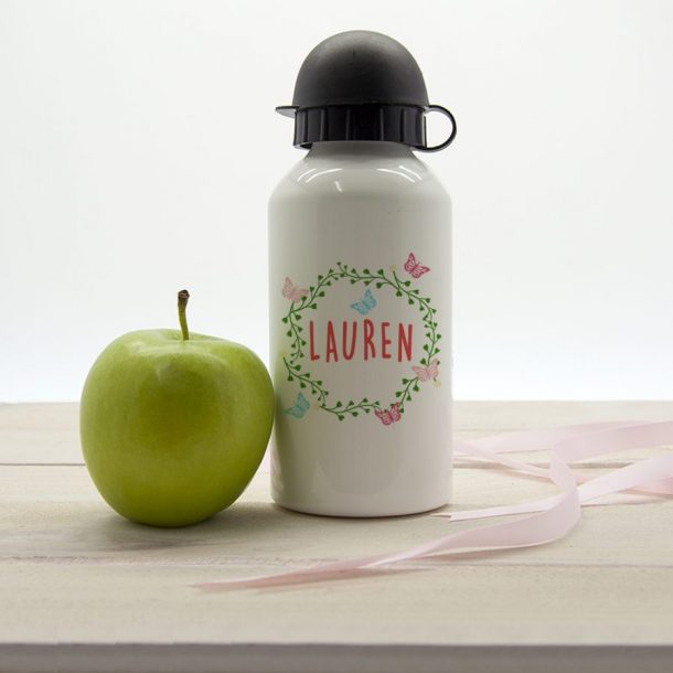 Personalised Butterfly Wreath Water Bottle