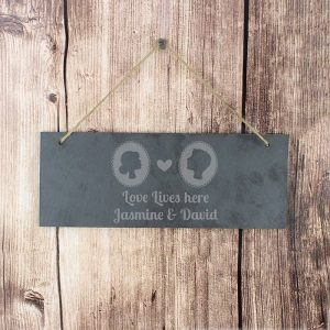 Personalised Cameo Slate Hanging Sign