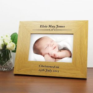 Personalised Christening Oak Photo Frame