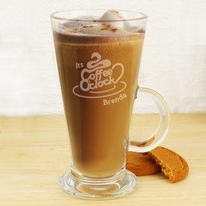 Personalised Coffee O'Clock Latte Glass