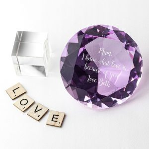 Personalised Coloured Diamond Paper Weight