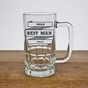 Personalised Comic Best Man Glass Tankard