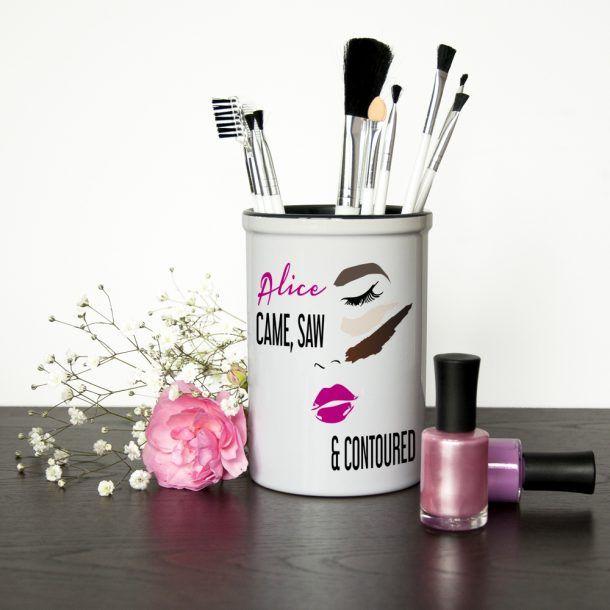 Personalised Contoured Make Up Brush Holder