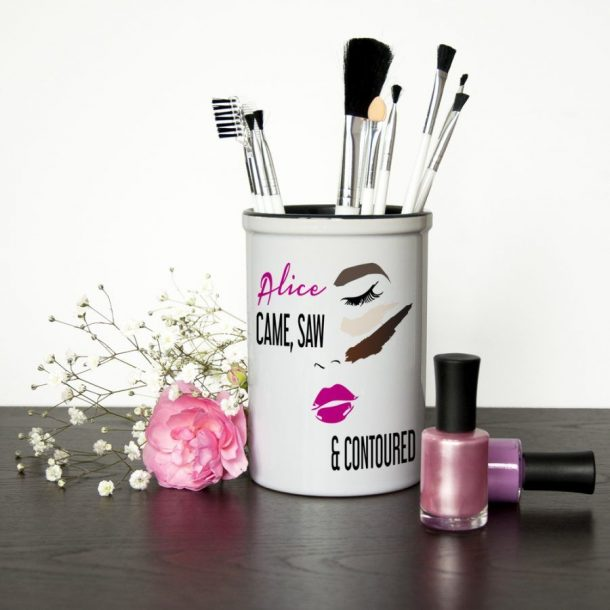 Personalised Contoured Make Up Brush Holder