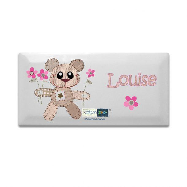 Personalised Cotton Zoo Girls Door Plaque