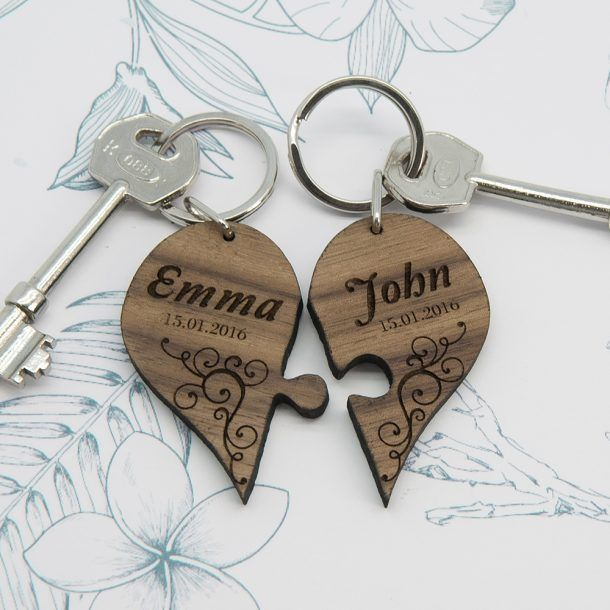 Personalised Couples Joining Heart Keyring