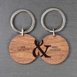 Personalised Couples Wooden Key rings