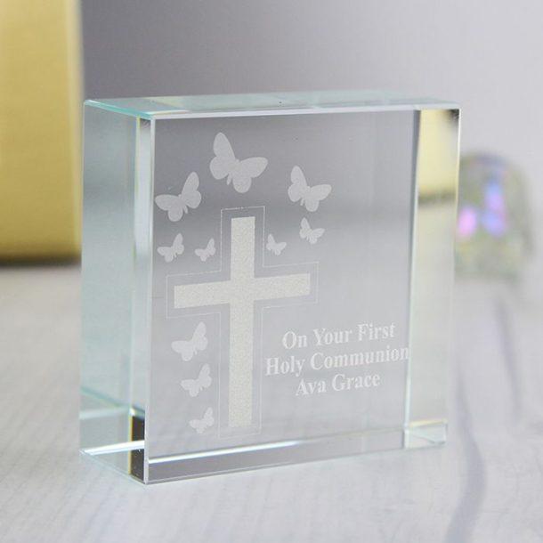 Personalised Cross Medium Glass Token
