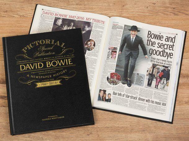 Personalised David Bowie Newspaper Book