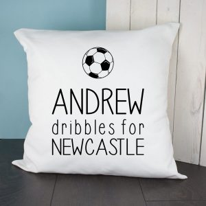Personalised Dribbles For Football Cushion Cover