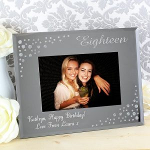 Personalised Eighteen Diamante Glass Photo Frame