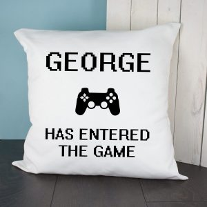 Personalised Entered The Game Cushion Cover