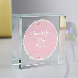 Personalised Floral Medium Crystal Token