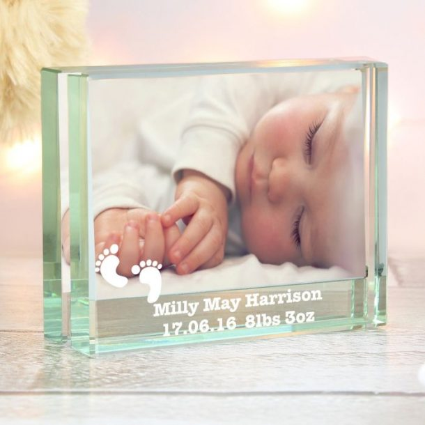 Personalised Footprints Glass Photo Block