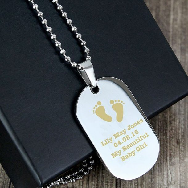 Personalised Footprints Steel Dog Tag Necklace