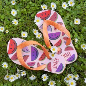 Personalised Girl's Water Melon Flip Flops