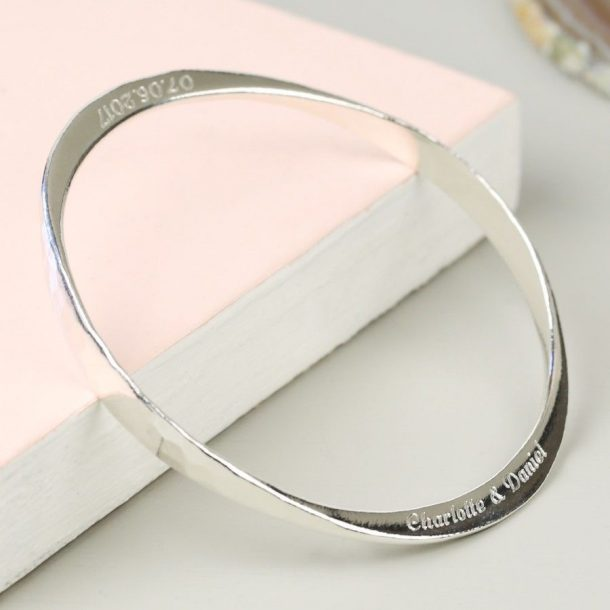 Personalised Hammered Silver Bangle