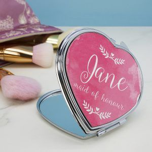 Personalised Heart Wedding Compact Mirror