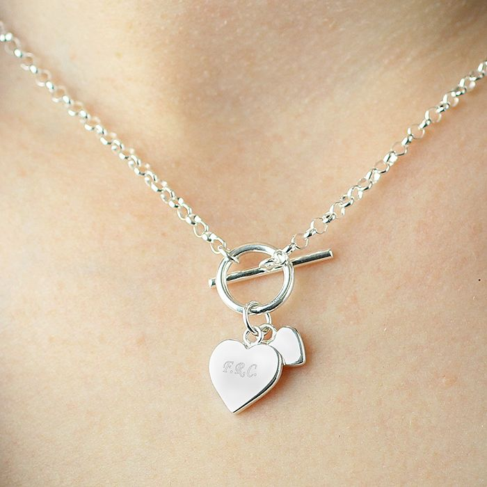 eb5fb9e347d Personalised Hearts T-Bar Necklace | Love My Gifts