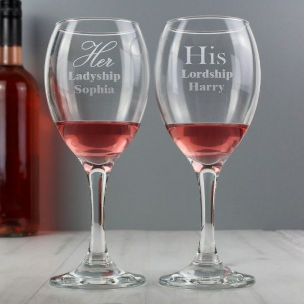Personalised His and Her Wine Glass Set